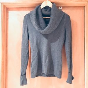 Cowlneck sweater, gray, small